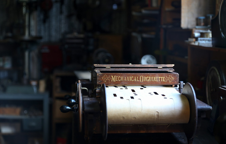 Фото обои макро, фон, Mechanical Orguinette