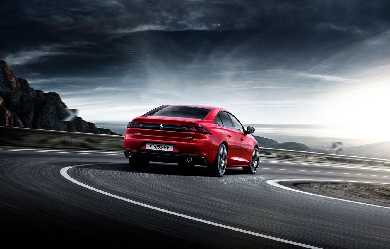 Фото обои дорога, авто, красный, Peugeot, автомобиль
