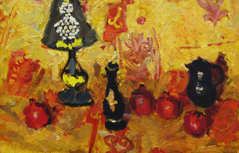 Фото обои натюрморт, гранат, Петяев, чёрная лампа
