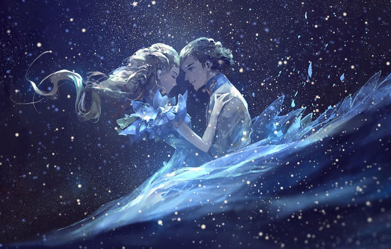 Фото обои любовь, сияние, огоньки, длинные волосы, art, Золушка, Cinderella, Принц, AkaLilu