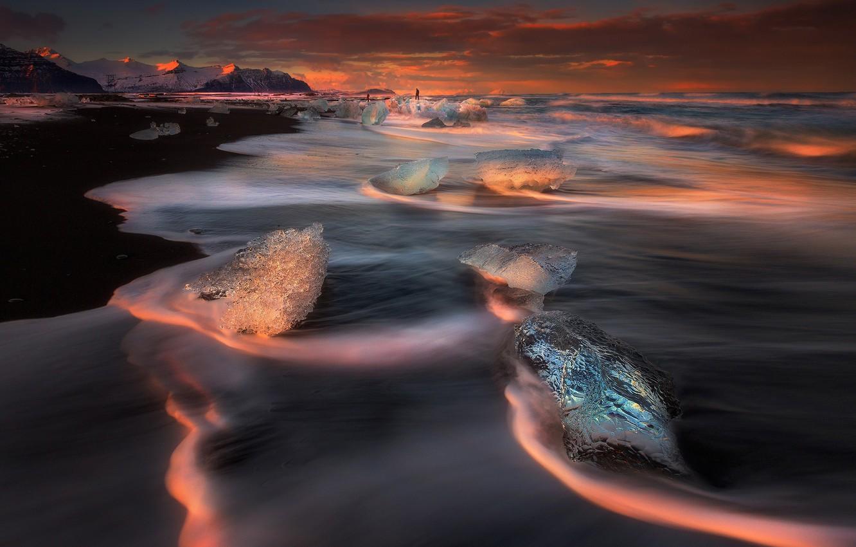 Фото обои пляж, небо, берег, лёд, Исландия