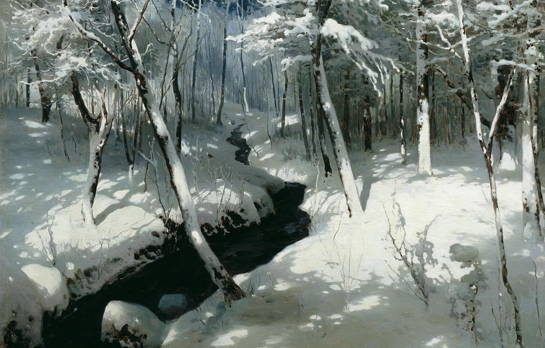 Фото обои зима, снег, масло, холст, 1906, Ручей в лесу, Андрей ШИЛЬДЕР (1861-1919)