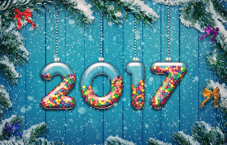 Фото обои new year, happy, 2017, holiday decoration