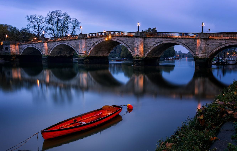 Фото обои ночь, лодка, Англия, Лондон, арка, Ричмондский мост
