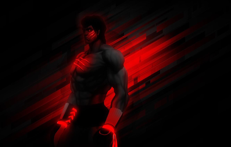 Фото обои боец, качок, боксёр, Street Fighter 4, BossLogic, Fei Long's, чёрно красный, feitron