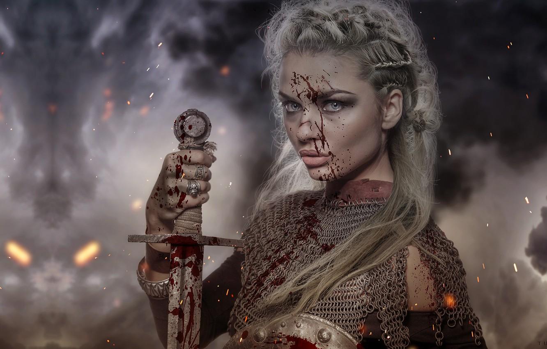 Фото обои девушка, оружие, меч, воин, фэнтези, арт, кольчуга, Florencia Tucci, Medieval test