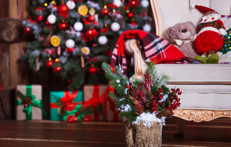 Фото обои украшения, комната, шары, игрушки, елка, Новый Год, Рождество, подарки, Christmas, design, wood, Merry Christmas, Xmas, …