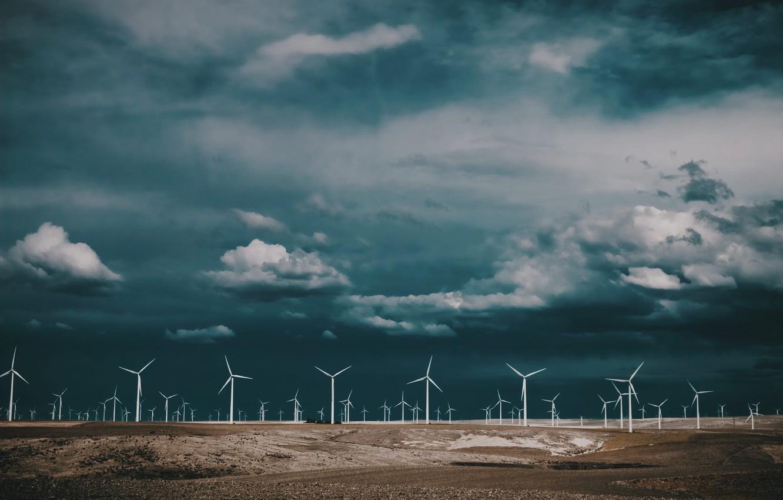 Фото обои пейзаж, природа, ветряки