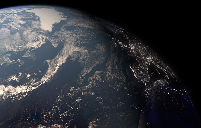 Фото обои поверхность, огни, земля, планета