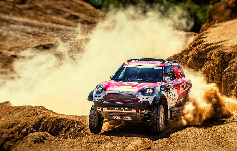 Фото обои Песок, Авто, Mini, Пыль, Спорт, Пустыня, Скорость, Гонка, Rally, Внедорожник, Ралли, Передок, X-Raid Team, MINI …