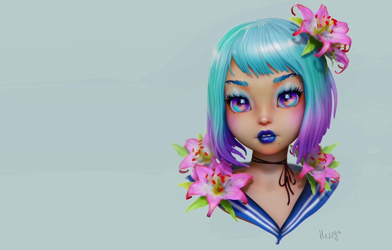 Фото обои цветы, портрет, аниме, арт, девочка, Olya Anufrieva, 3d c, JGirl