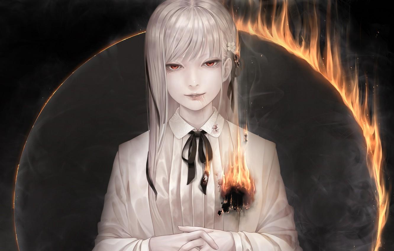 Фото обои девушка, огонь, лента, бант, красные глаза, bouno satoshi