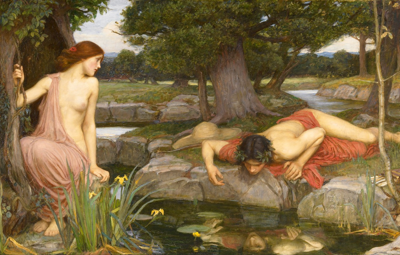 Фото обои forest, art, John William Waterhouse, Echo and Narcissus