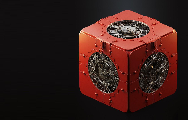Фото обои механизм, арт, куб, box, Maxim Goudin