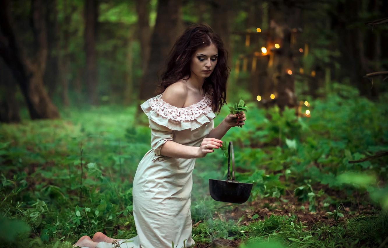 Фото обои зелень, трава, листья, девушка, деревья, поза, волшебство, дым, огоньки, макияж, платье, прическа, котелок, шатенка, красивая, …