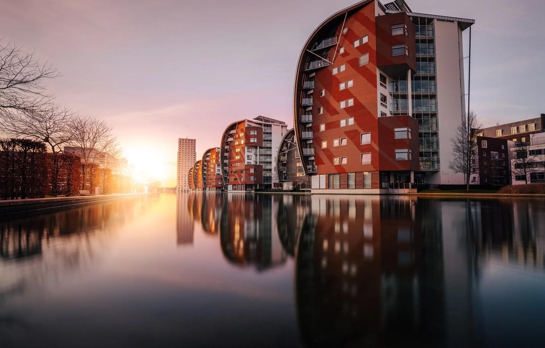 Фото обои вода, свет, город, отражение, дома, канал, Нидерланды
