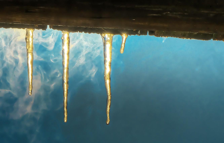 Фото обои зима, лёд, сосульки
