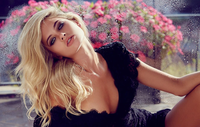 Фото обои girl, model, lips, hair, look, blonde, black dress, decollete, Megan Irwin
