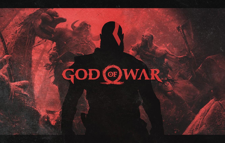 Фото обои axe, battlefield, red, blood, logo, forest, Sony, demigod, monster, weapon, Kratos, God of War, man, …
