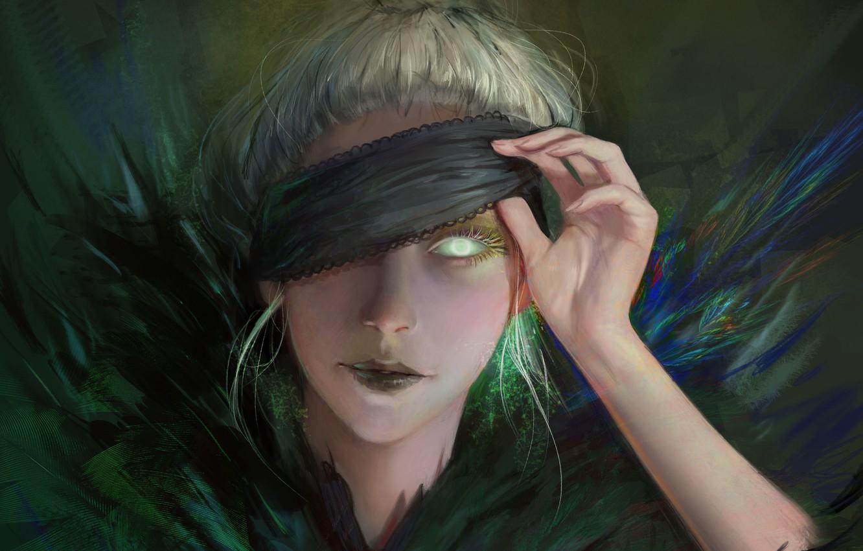 Фото обои девушка, лицо, глаз, перья, фэнтези, арт, повязка