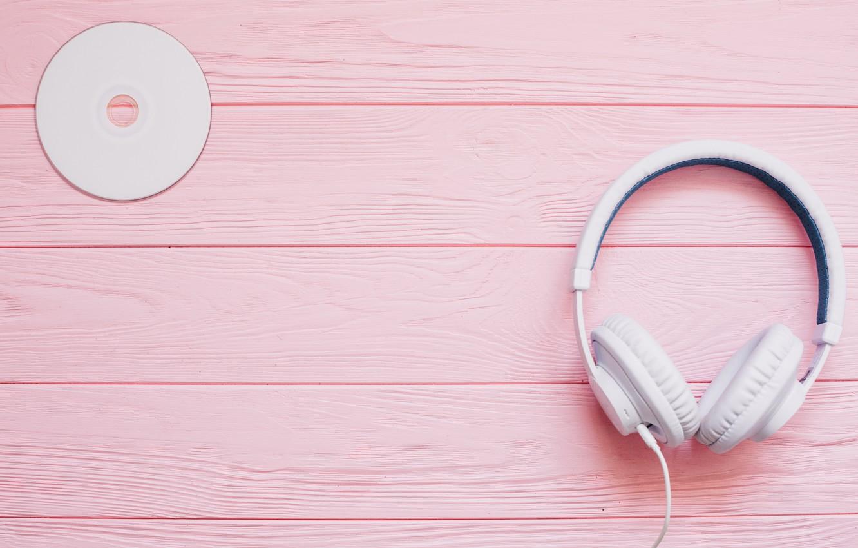 обои белый музыка наушники диск розовый фон картинки на рабочий