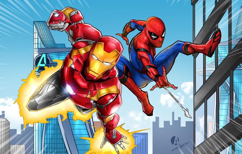Фото обои Рисунок, Герои, Костюм, Здания, Кино, Маска, Heroes, Superheroes, Броня, Железный человек, Фильм, Фантастика, Iron Man, …