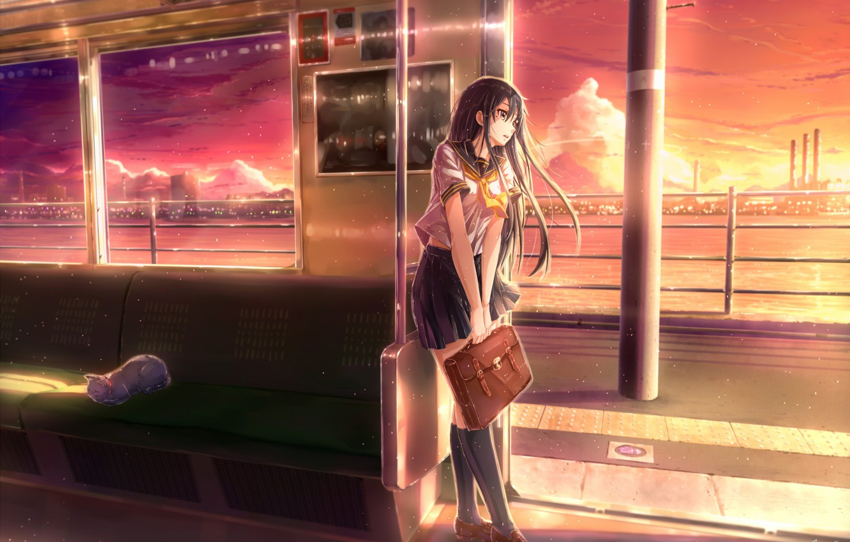 Фото обои река, метро, Япония, вагон, школьница, гольфы, портфель, art, сидения, красное небо, огни большого города, белый …