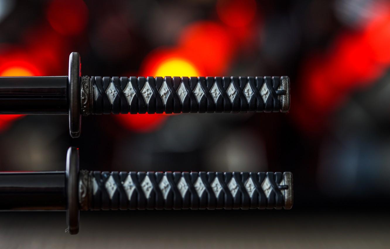 Фото обои макро, мечи, самурайские, рукоятки