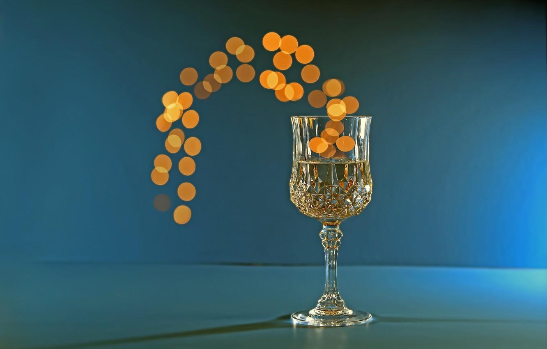 Фото обои фон, бокал, Bokeh, Champagne