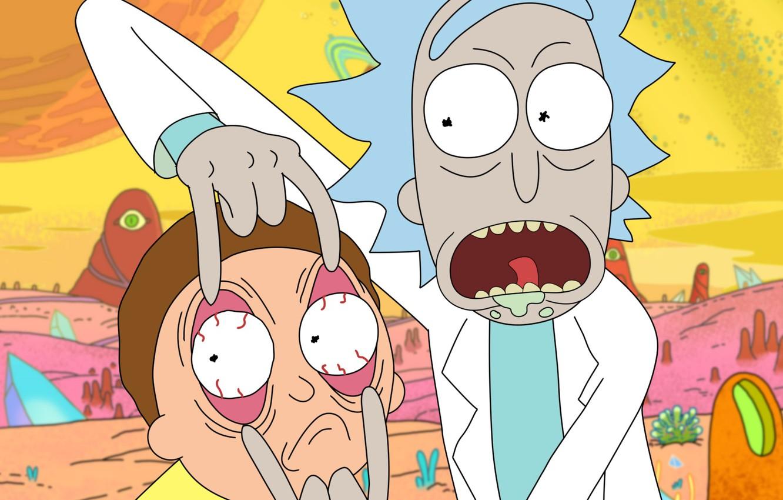 Обои ученный, язык, удивление, пальцы, псих, Morty, Rick and Morty, большие глаза, слюни, Морти, рик, халат, прическа, rick, Рик и Морти. Фильмы foto 6