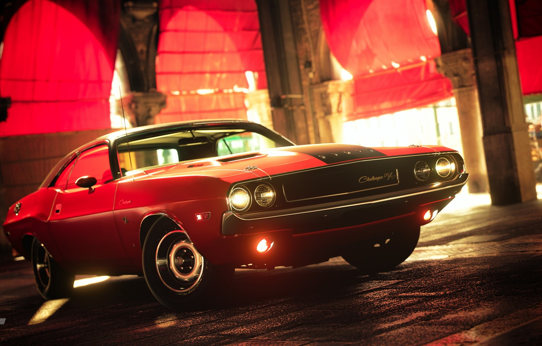 Фото обои красный, улица, Challenger, Dodge Challenger R/T