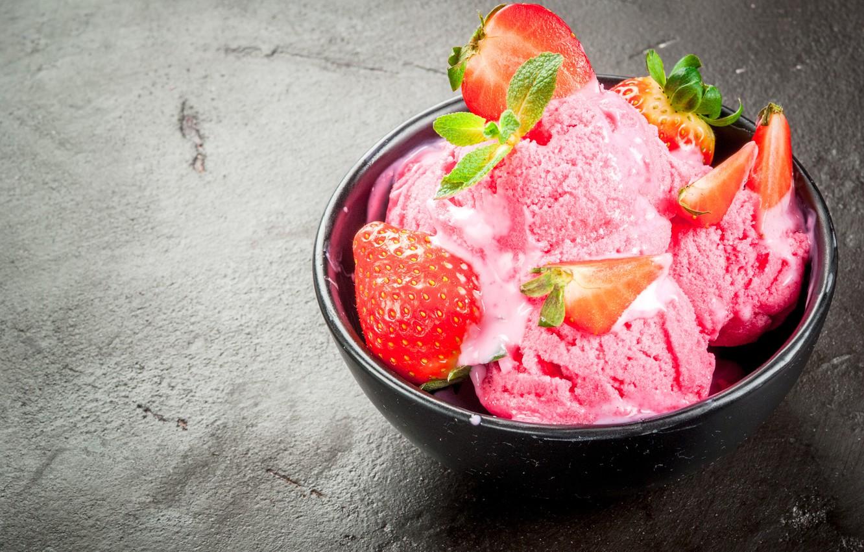 Фото обои ягоды, клубника, мороженое, мята, десерт, strawberry, ice cream
