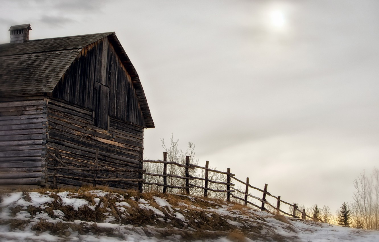 Фото обои зима, дом, забор