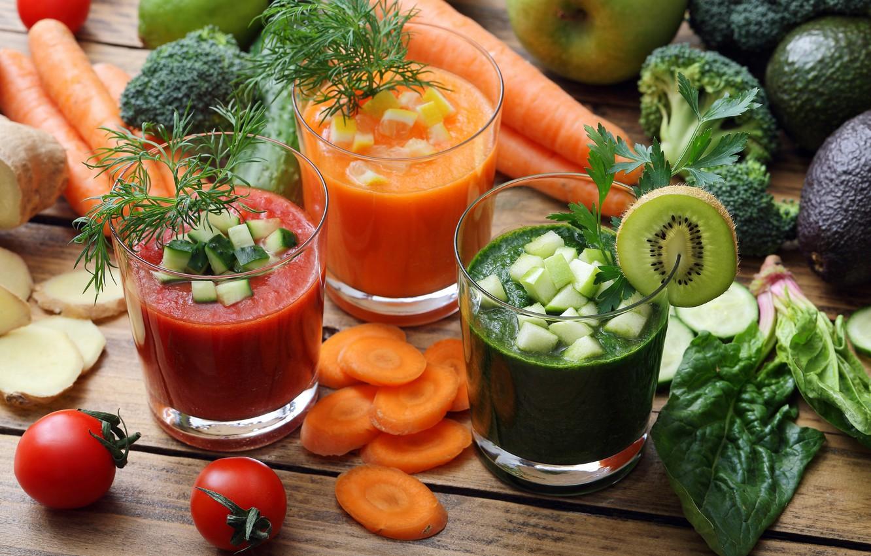Обои яблоки, завтрак, киви, напиток, овощи, витамины, смузи картинки на рабочий стол, раздел еда - скачать