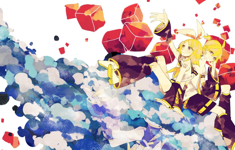 Фото обои девушка, кубики, Vocaloid, Вокалоид, Кагомине Рин