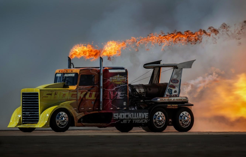 Фото обои огонь, скорость, Грузовик