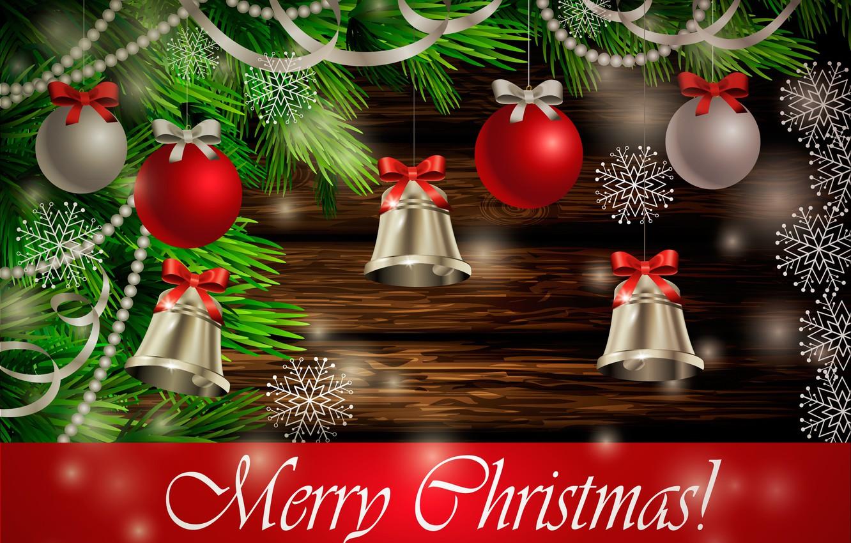 Фото обои игрушки, ель, Рождество, колокольчики