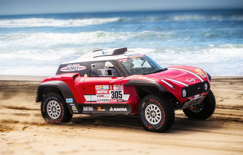 Фото обои Песок, Море, Пляж, Mini, Спорт, Скорость, Rally, Dakar, Дакар, Ралли, Buggy, Багги, X-Raid Team, 305, …