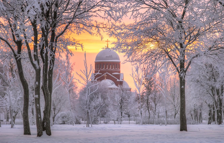 Фото обои зима, снег, деревья, рассвет, утро, Санкт-Петербург, храм, Россия, Муринский парк, Церковь Сретения Господня