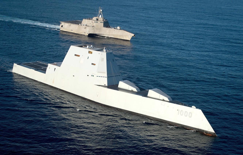 Фото обои оружие, флот, Pacific Ocean, армия США, USS Independence (LCS 2), USS Zumwalt(DDG 1000)
