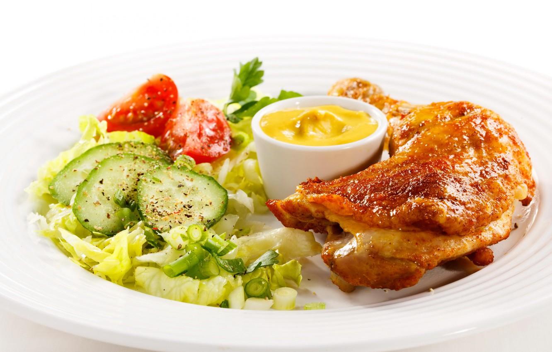 Фото обои курица, огурец, мясо, ножка, помидор, горчица