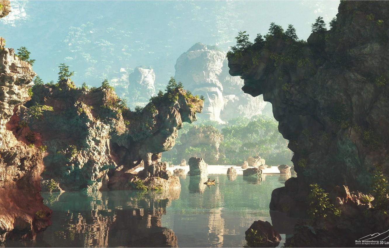 Фото обои отражение, скалы, лодка, водоём, The Last Kingdom