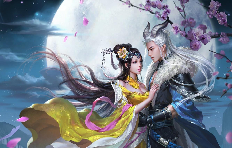 Фото обои любовь, ночь, луна, игра, встреча, весна, сакура, арт, пара, fantasy, свидание