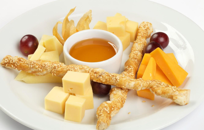 Фото обои сыр, мед, виноград, ассорти