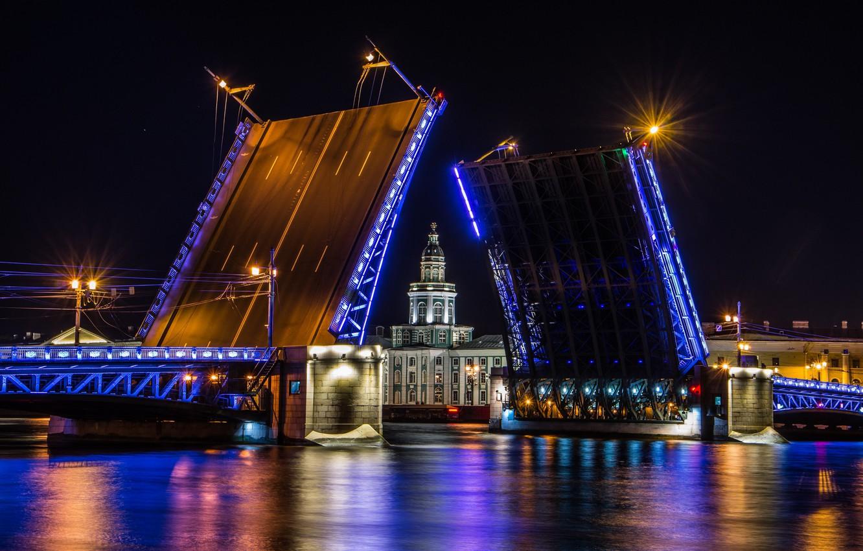 Фото обои ночь, мост, огни, Санкт-Петербург, Saint Petersburg