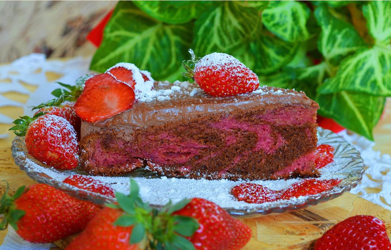 Фото обои Клубника, Strawberry, Тортик