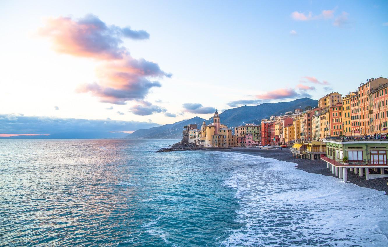 Фото обои море, пляж, берег, Италия, Italy, travel, Camogli, Liguria, basilica