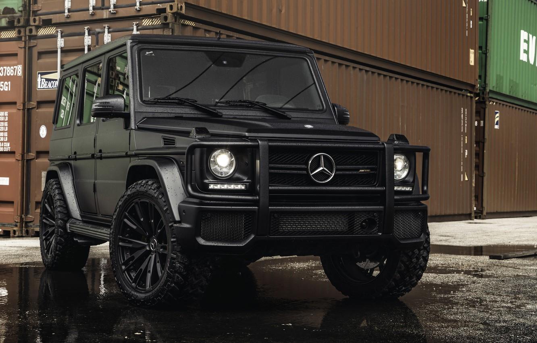 Фото обои Mercedes-Benz, контейнер, G-Klasse, tires, G63 AMG, ship container