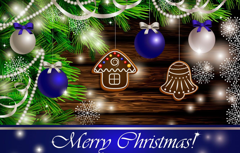 Фото обои снежинки, игрушки, ель, печенье, Рождество