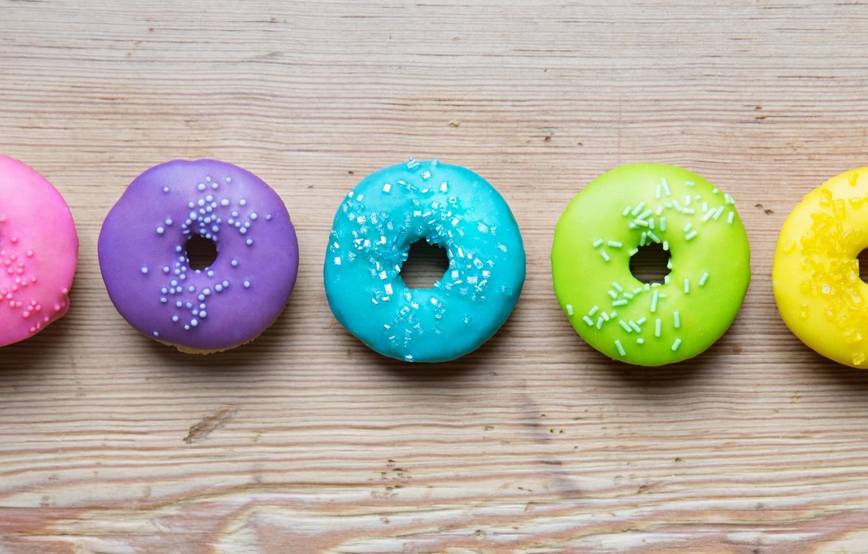 Фото обои colorful, rainbow, пончики, глазурь, donuts